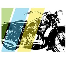 TRICOLOR MOTORCYCLE Photographic Print