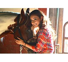 A Girl and Her Horse Photographic Print