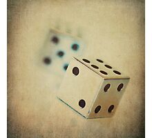 Vintage Chrome Dice Photographic Print