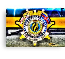 Sheriff Badge on a Police Car in Assateague, Maryland, USA Canvas Print