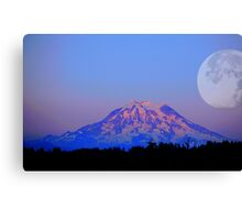 The Super Moon and Mt. Rainier Canvas Print