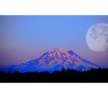 The Super Moon and Mt. Rainier Photographic Print