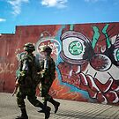 Soldiers and Street Art, Bogota by Bob Ramsak