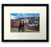 Soldiers and Street Art, Bogota Framed Print