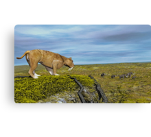 Saber Tooth Tiger and Columbian Mammoth Canvas Print