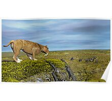 Saber Tooth Tiger and Columbian Mammoth Poster