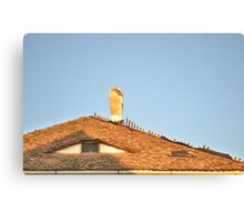 Old Roof with  A Chimney and A Triangular Eye-Like Window Canvas Print