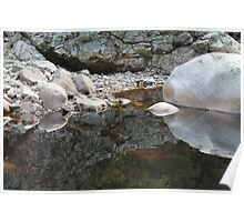 Boulders reflecting in a pond in the river Øksna. Poster