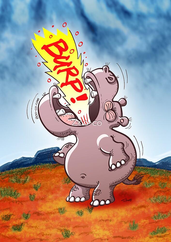 Hippopotamus Burping Loudly by Zoo-co