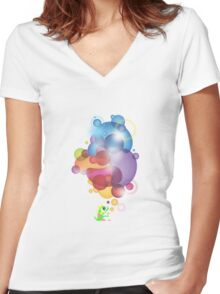 Bubbled Women's Fitted V-Neck T-Shirt