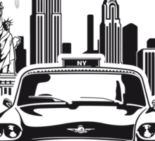 New York City Skyline and Taxi Chequer Sticker