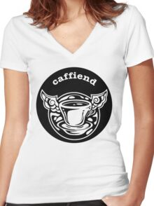 Caffiend mono logo round Women's Fitted V-Neck T-Shirt
