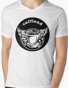 Caffiend mono logo round Mens V-Neck T-Shirt