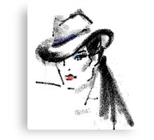 Lady in hat fedora Canvas Print