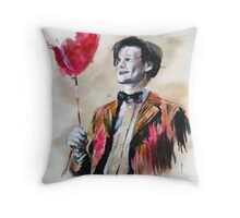 The Doctor and his red balloon. Throw Pillow