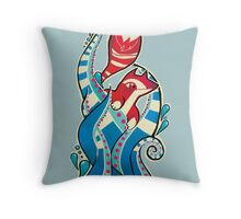 Fox tentacles Throw Pillow