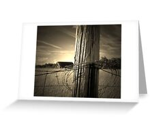 Farm Fence Post rustic barb wire photography Greeting Card