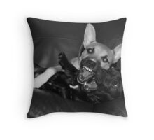 crazy dogs Throw Pillow