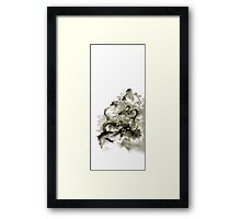Mountain dragon sumi-e ink painting dragon art Framed Print
