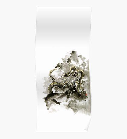 Mountain dragon sumi-e ink painting dragon art Poster