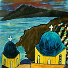 Santorini at sunset by George Hunter