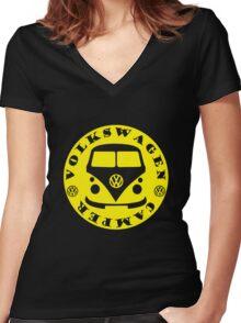 VW Camper Women's Fitted V-Neck T-Shirt