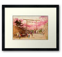 Vintage Japanese Cherry Blossoms Framed Print