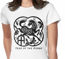 Year of The Horse Papercut Design Womens Fitted T-Shirt