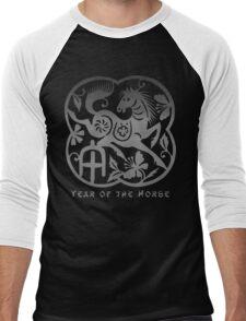 Year of The Horse Papercut Design Men's Baseball ¾ T-Shirt