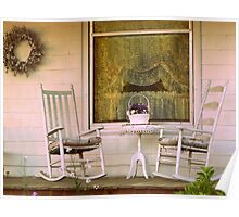 Front Porch Rocking Chairs cozy home decor Poster