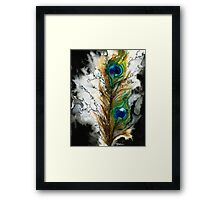 Abstract Watercolor Peacock Feather Framed Print