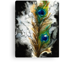 Abstract Watercolor Peacock Feather Canvas Print