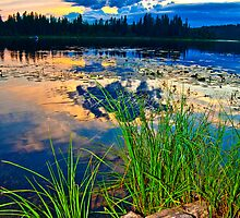 Phyliss Lake, Alberta, Canada, Sunset by Laurast
