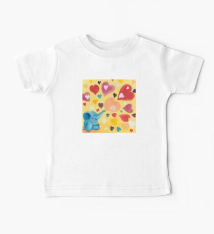 Love - Rondy the Elephant with colorful hearts Baby Tee