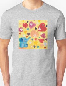 Love - Rondy the Elephant with colorful hearts Unisex T-Shirt