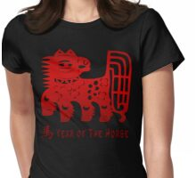 Chinese New Year Of The Horse Papercut Womens Fitted T-Shirt
