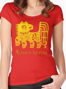 Chinese New Year of The Horse Papercut Women's Fitted Scoop T-Shirt