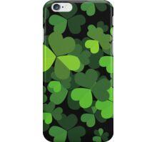 Saint Patrick's Day, Clovers - Green Black iPhone Case/Skin