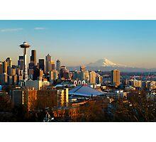 Seattle Cityscape and Mount Rainier Photographic Print