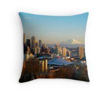 Seattle Cityscape and Mount Rainier Throw Pillow