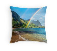 Rainbow at Tunnels Beach Hawaii Throw Pillow