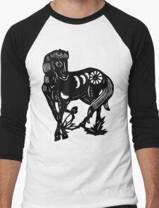 Chinese Zodiac Horse Papercut Men's Baseball ¾ T-Shirt
