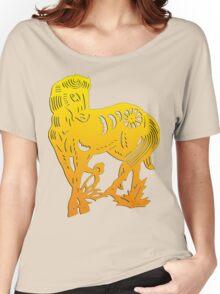 Chinese Zodiac Horse Papercut Women's Relaxed Fit T-Shirt