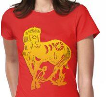 Chinese Zodiac Horse Papercut Womens Fitted T-Shirt