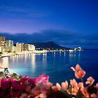 Waikiki Beach at Night, Hawaii by printscapes