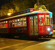 Canal St. Streetcar at Night by MJ Mastrogiovanni