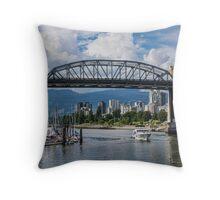 Boat under the Burrard Bridge, Vancouver, BC, Canada Throw Pillow