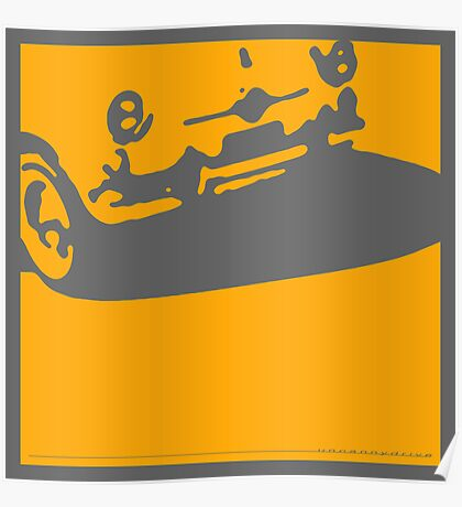 Fiat 600 Detail, 1956 - Yellow on Gray Poster