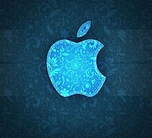 Patterened Blue Apple Logo by wes151