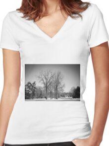 Winter Tree Women's Fitted V-Neck T-Shirt